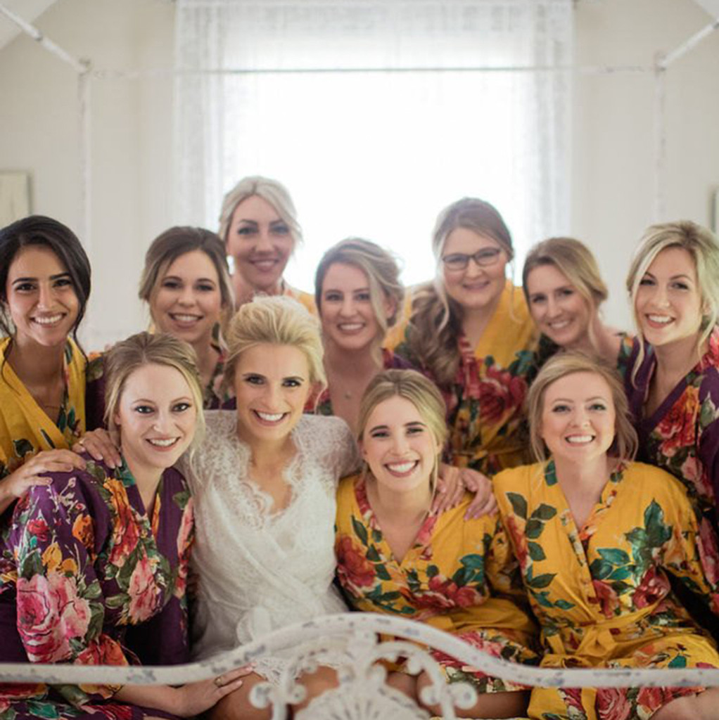 Gold and Wine Large Floral Blossom Bridesmaids Robes Set