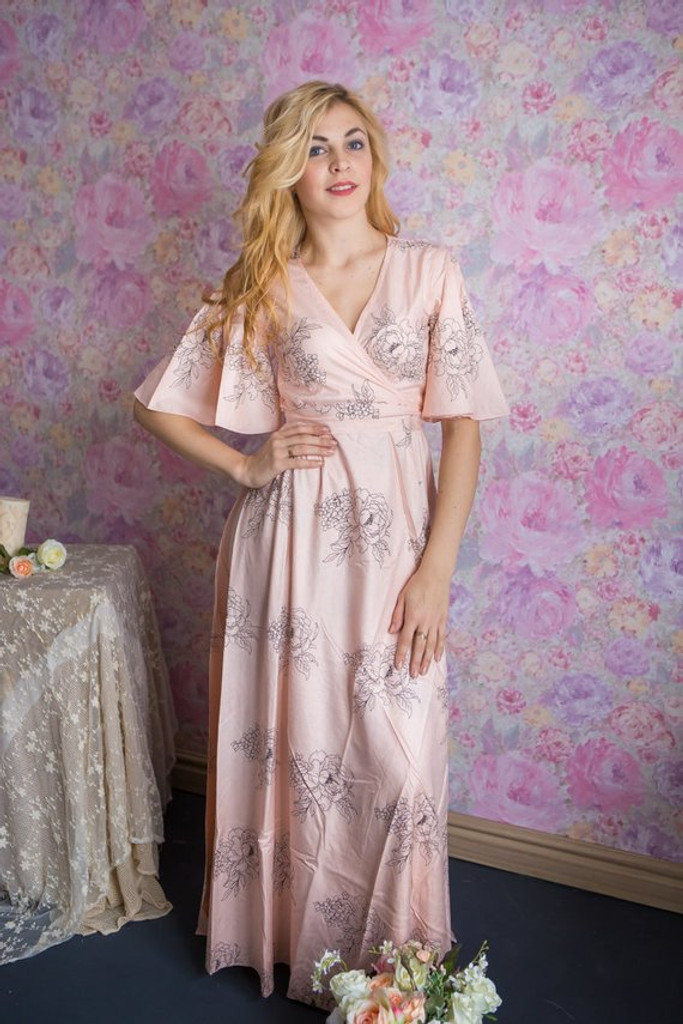 Blush Dress Robe - Floral Sketch Ankle length Maternity Robe