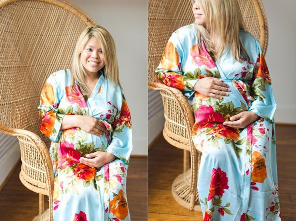 Light Blue Silk Large Floral Blossom Maternity Robe