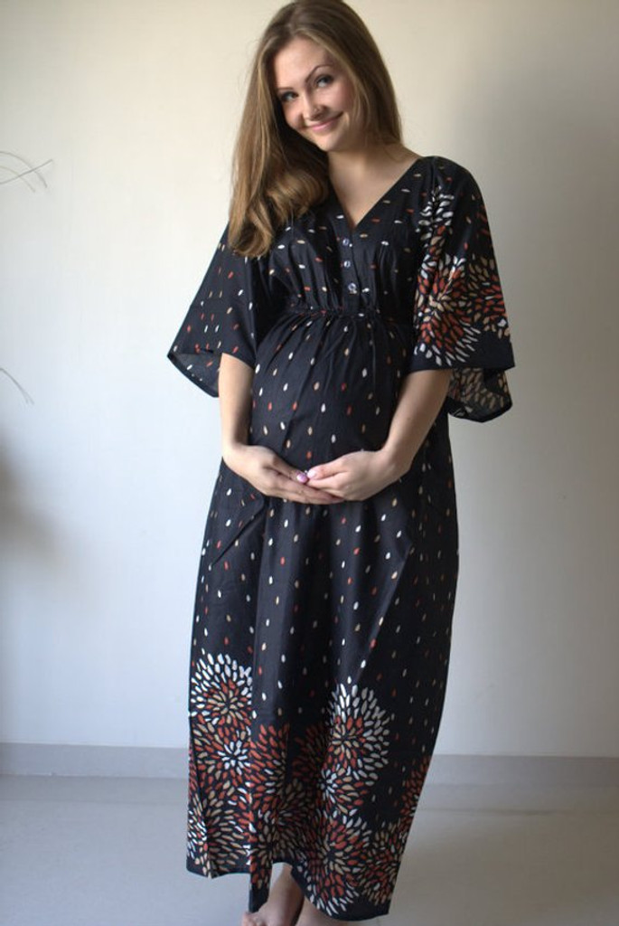 Black Abstract Floral Empire Waist Nursing Gown
