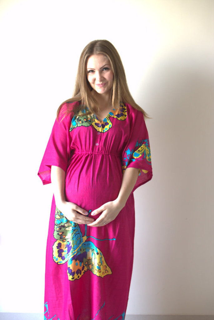 Magenta Big Butterfly Empire Waist Nursing Gown, maternity gown, nursing robes, nursing kaftans