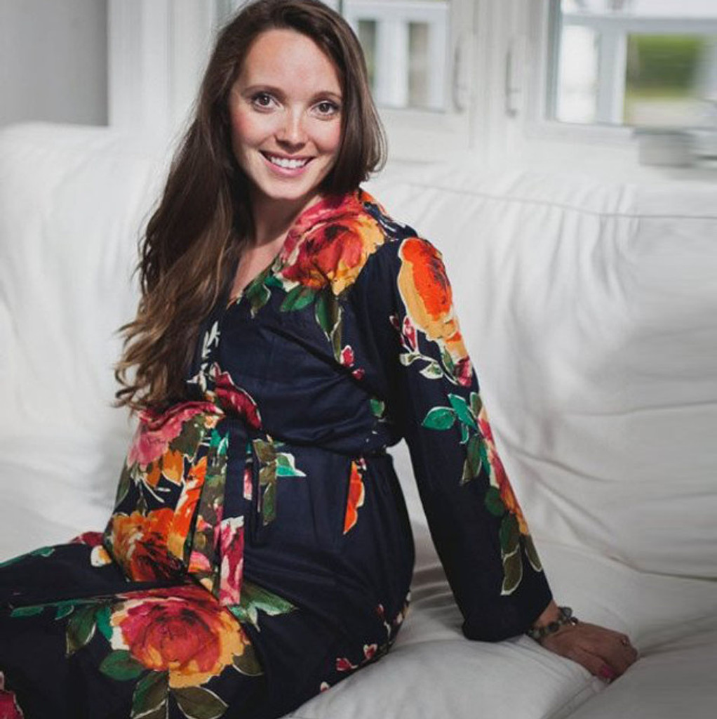 Navy Blue Large Floral Blossom Maternity Robe, Maternity clothing, Pregnancy clothing, Pregnancy dress, Pregnancy robes, Pregnancy Gowns, Nursing gowns, Customized maternity robes