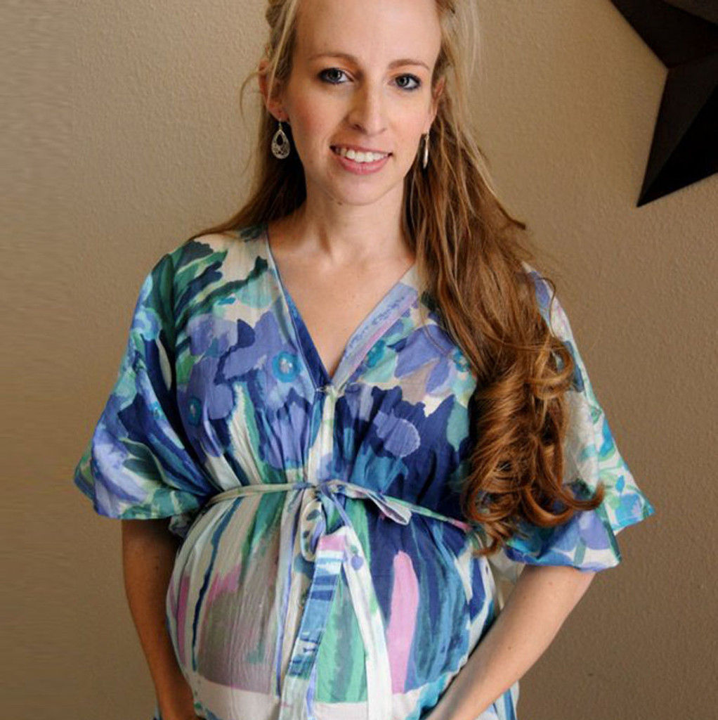 White Blue Watercolor Floral Delivery/Nursing Gown