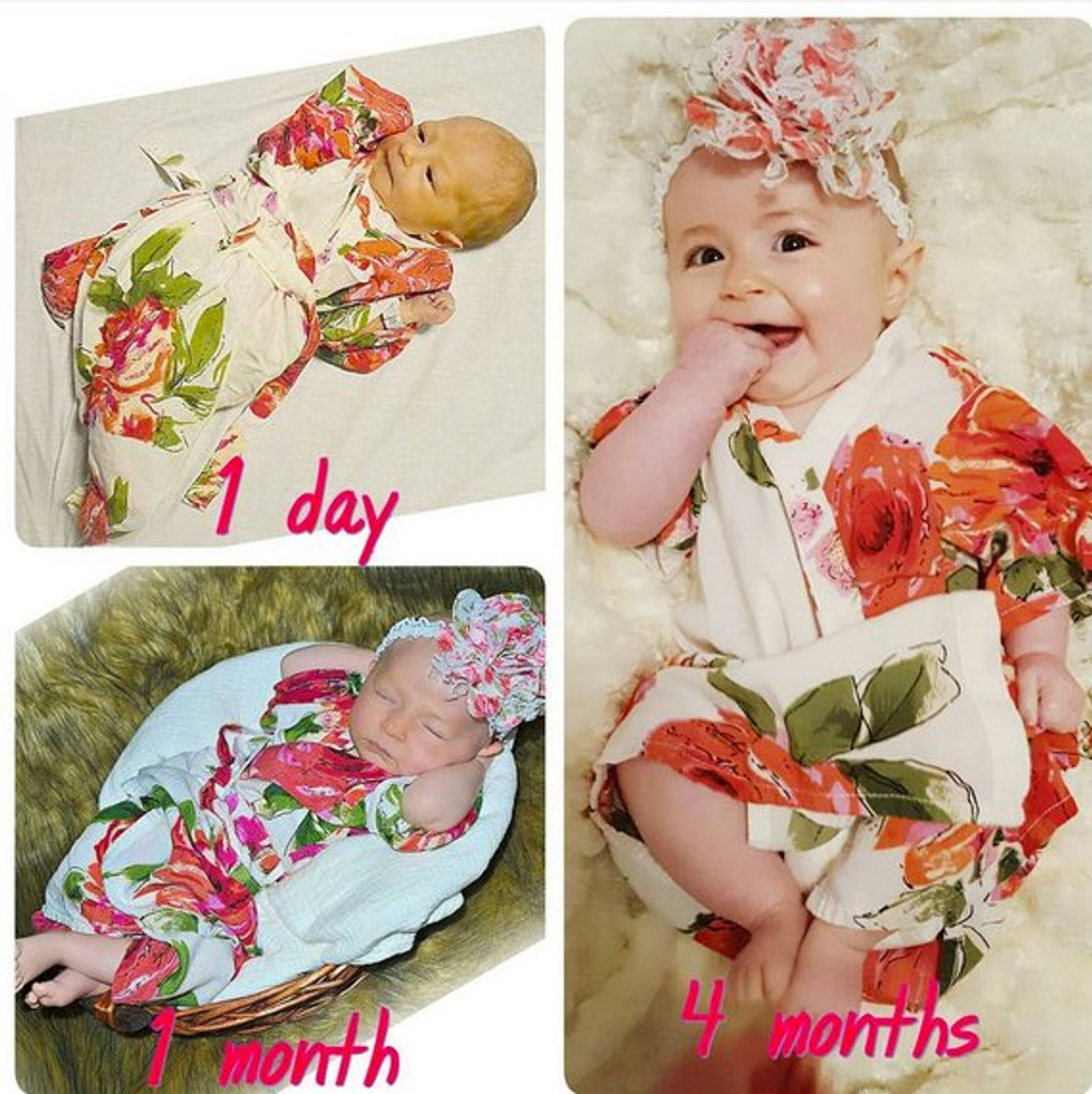 White Baby Robe Fuchsia Large Floral Blossom Pattern