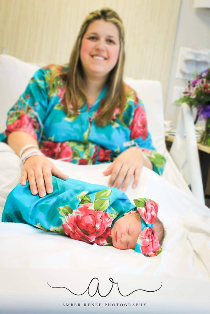 Set of Mommy Robe + Swaddle + Baby Headband - Teal Fuchsia Large Floral Blossom Pattern