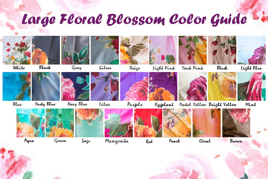 Aqua Newborn Swaddle / Baby Blanket - Large Floral Blossom Pattern