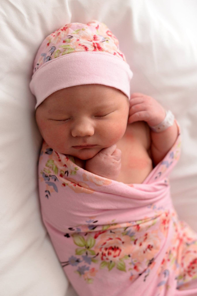 Set of Swaddle + Newborn Baby Beanie Hat - Pink Faded Flowers Pattern