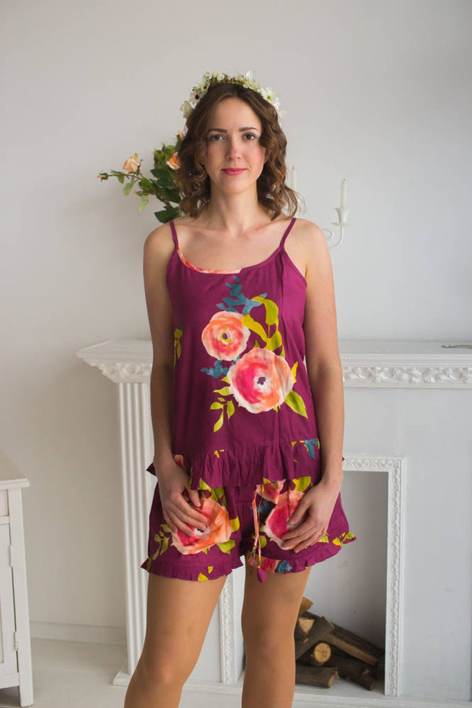 Spaghetti Straps Frilly Style PJs in Smiling Bloom Pattern