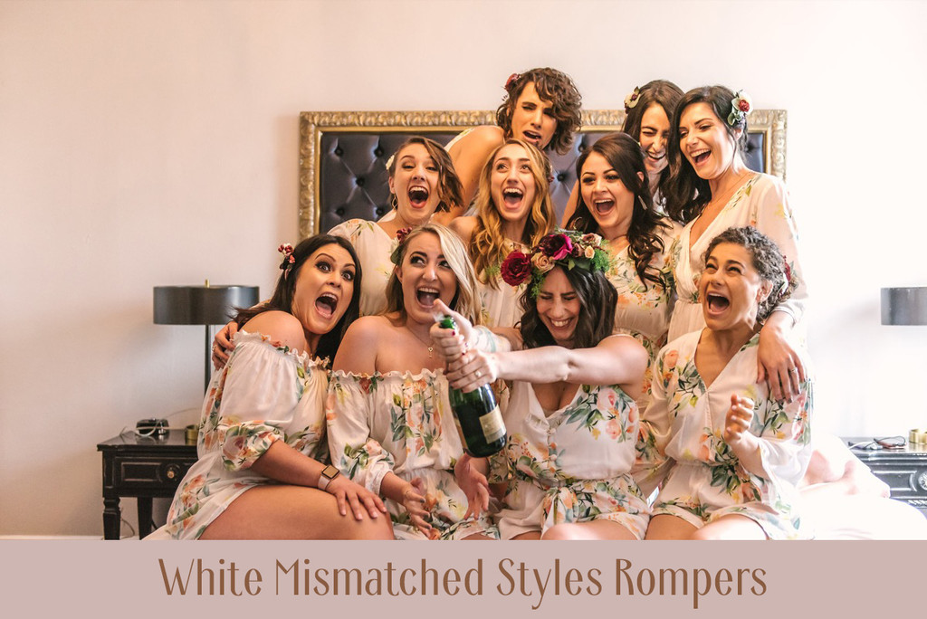 Cream Off the shoulder Style Dreamy Angel Song Bridesmaids Rompers Set