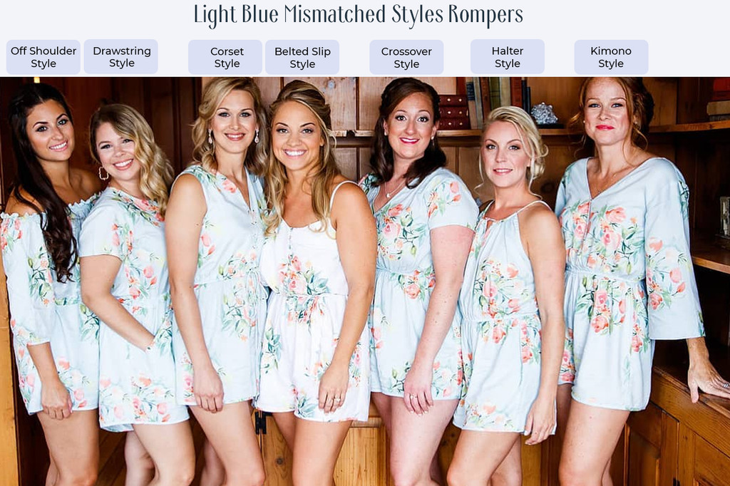 Blush and Rosegold Off the shoulder Style Bridesmaids Rompers in Floral Posy Pattern