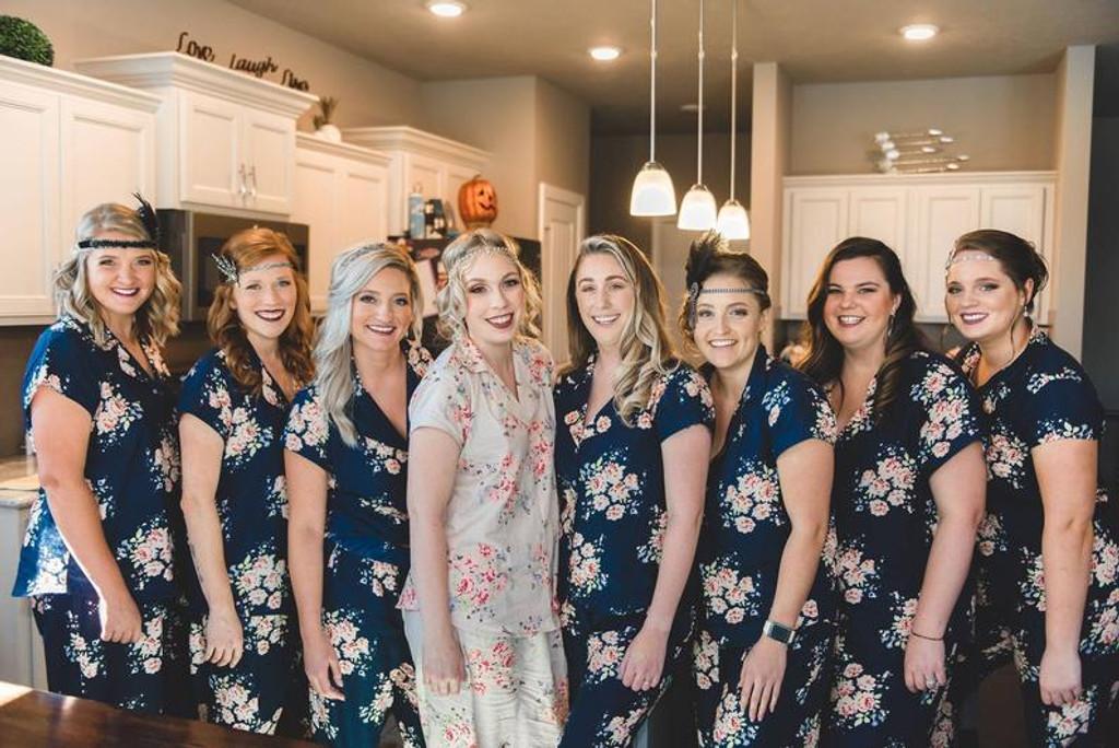 set of 8 pjs, bridal party pjs in set