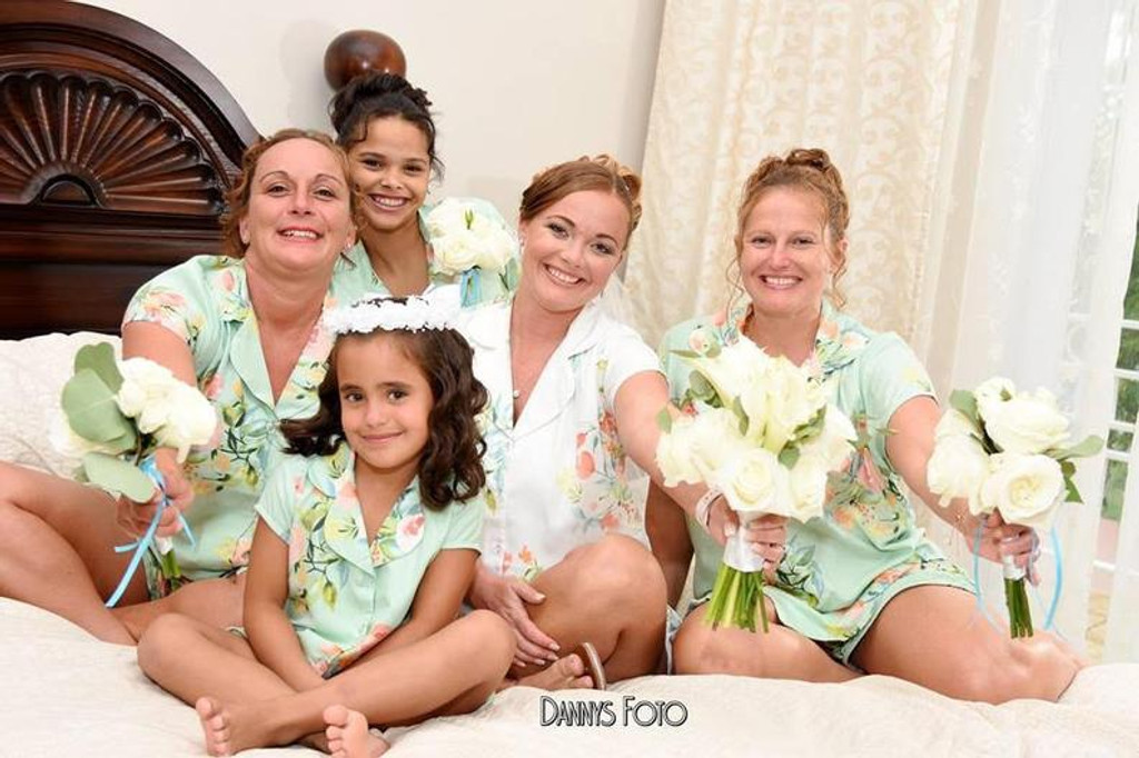 Mint  Notched Collar Style PJs in Dreamy Angel Song Pattern