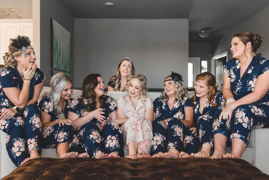 set of long pjs, pyjamas bridal party
