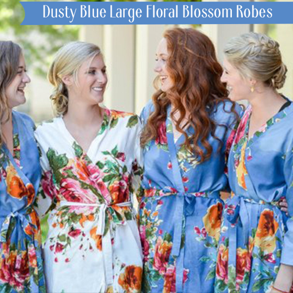 Dusty Blue Large Floral Blossom Robes