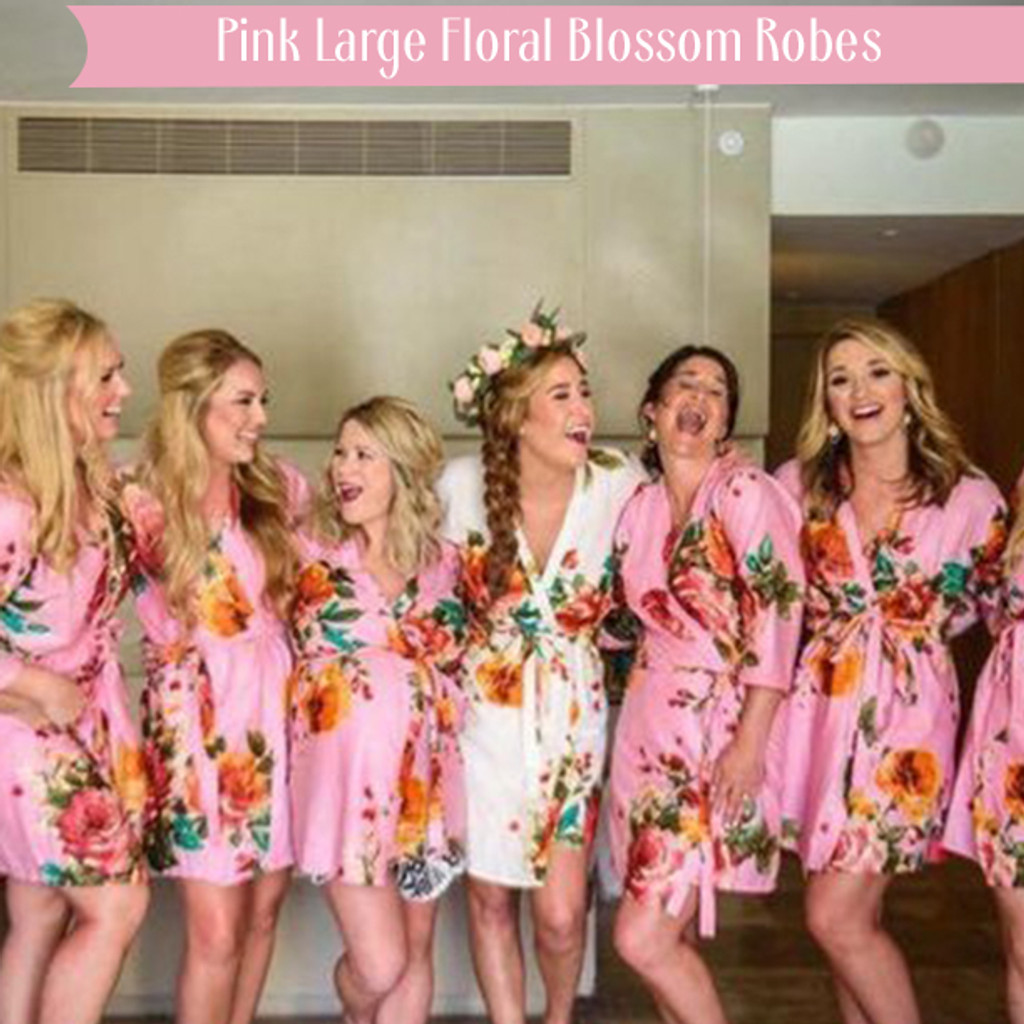 Pink Large Floral Blossom Robes