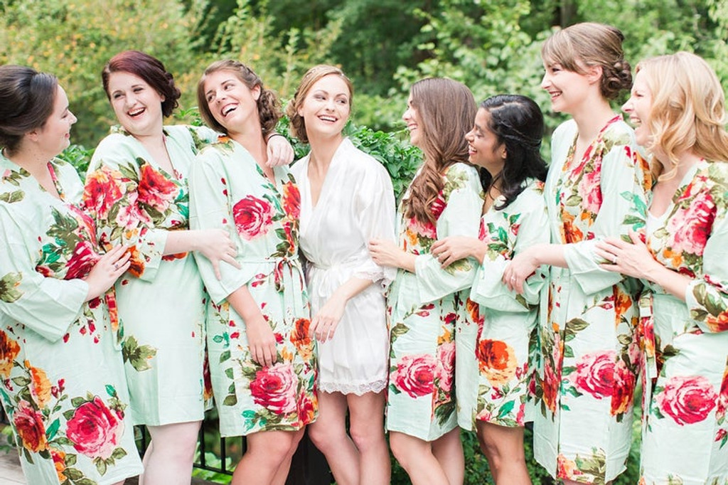 Mint Large Floral Blossom Bridesmaids Robes Set