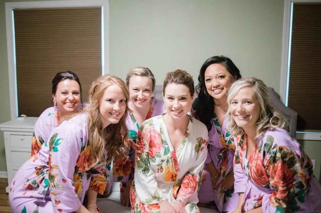 Lilac Large Floral Blossom Bridesmaids Robes Set