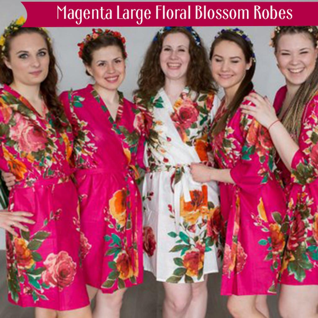 Magenta Large Floral Blossom Robes