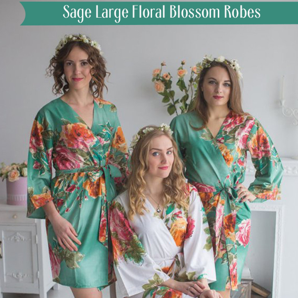 Sage Large Floral Blossom Robes