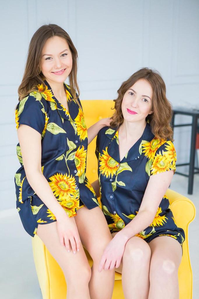 Navy Blue Sunflower Set of Bridesmaids PJ
