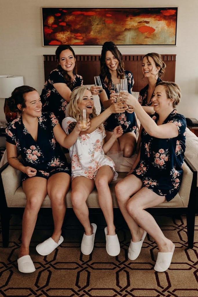 Black Faded Flower Bridesmaids  PJ Sets
