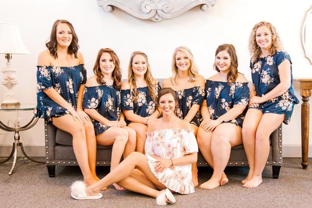 Navy Blue  Off the Shoulder Faded Flower Bridesmaids PJ Sets