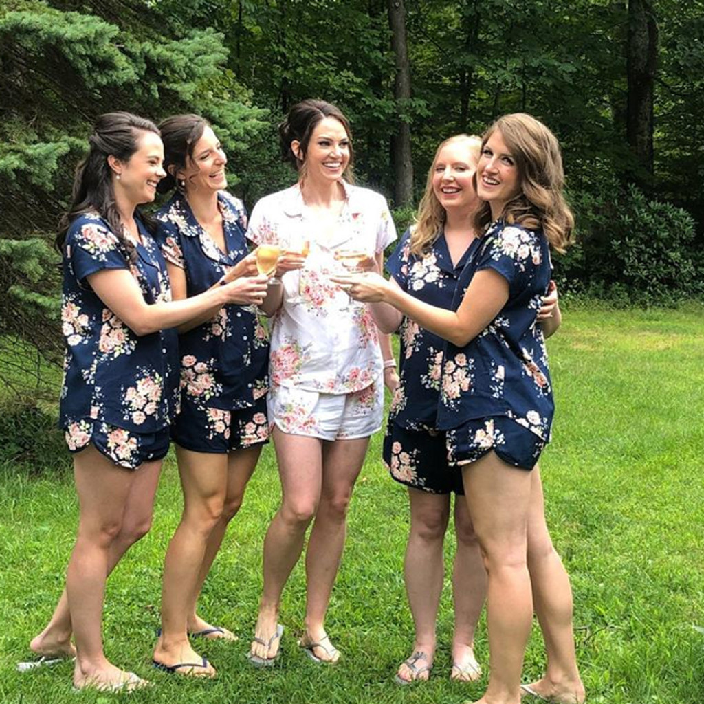 Navy Blue Faded Flower Bridesmaids PJ Sets