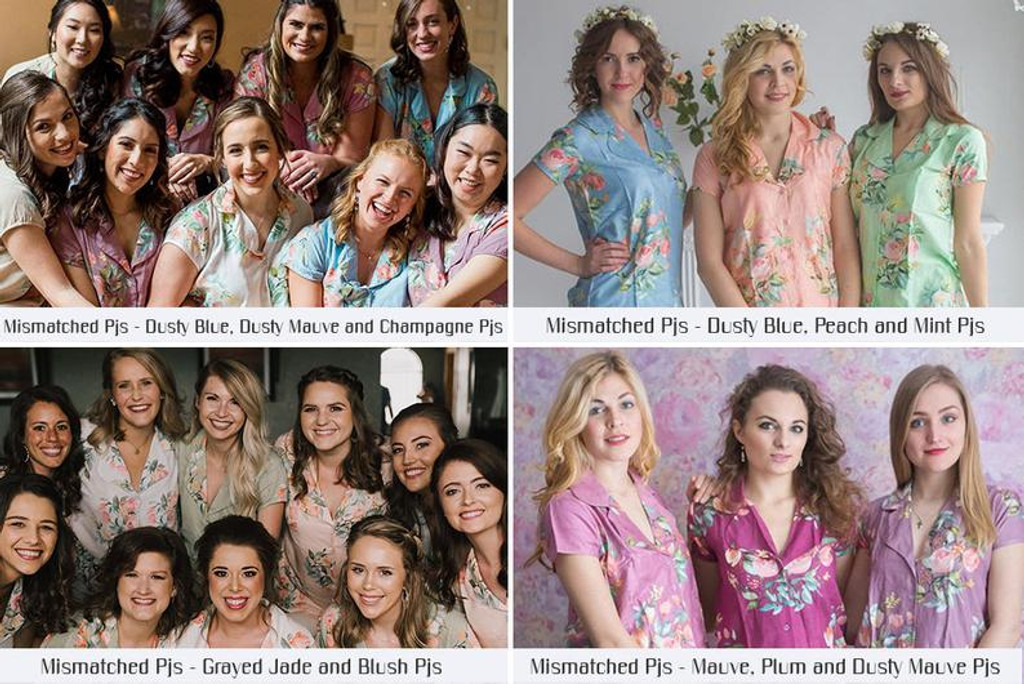 Dusty Blue in Dreamy Angel Song Bridesmaids PJ Sets
