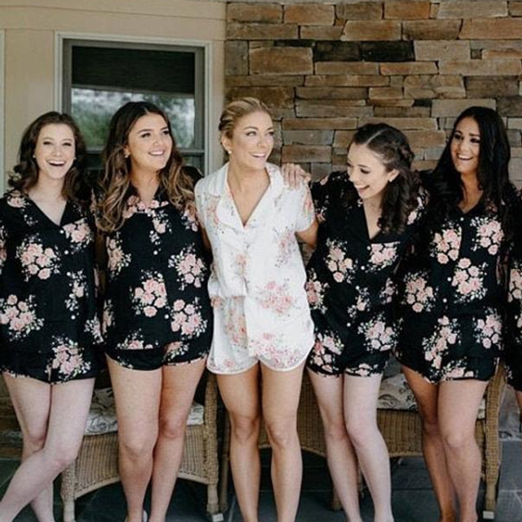 Black in Faded Flower Bridesmaids PJ Set