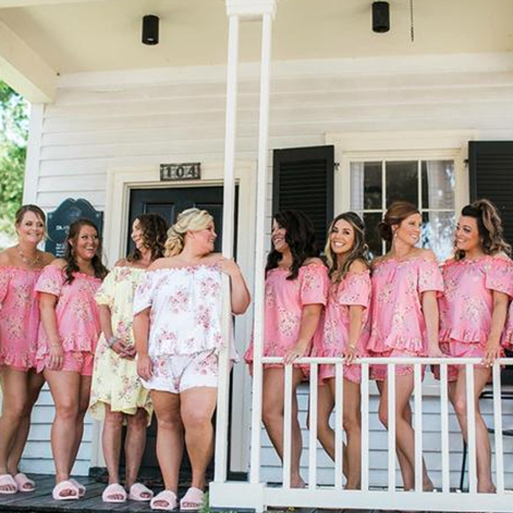 Rose Pink Off the Shoulder Style Dreamy Angel Song Bridesmaids PJ Set