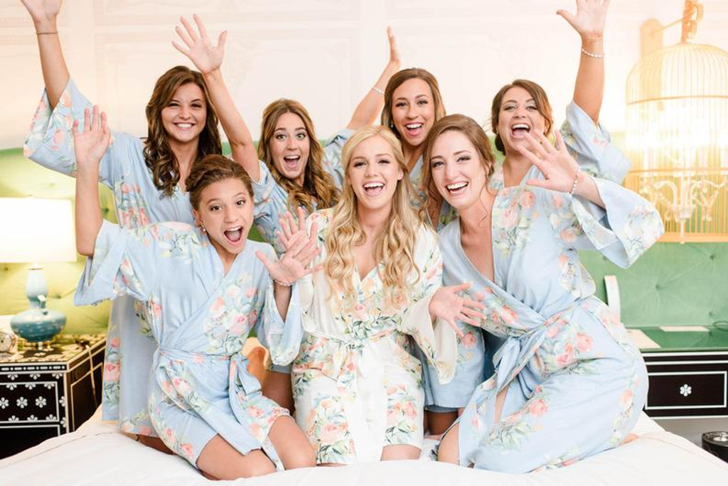 Powder Blue Dreamy Angel Song Set of Bridesmaids Robes