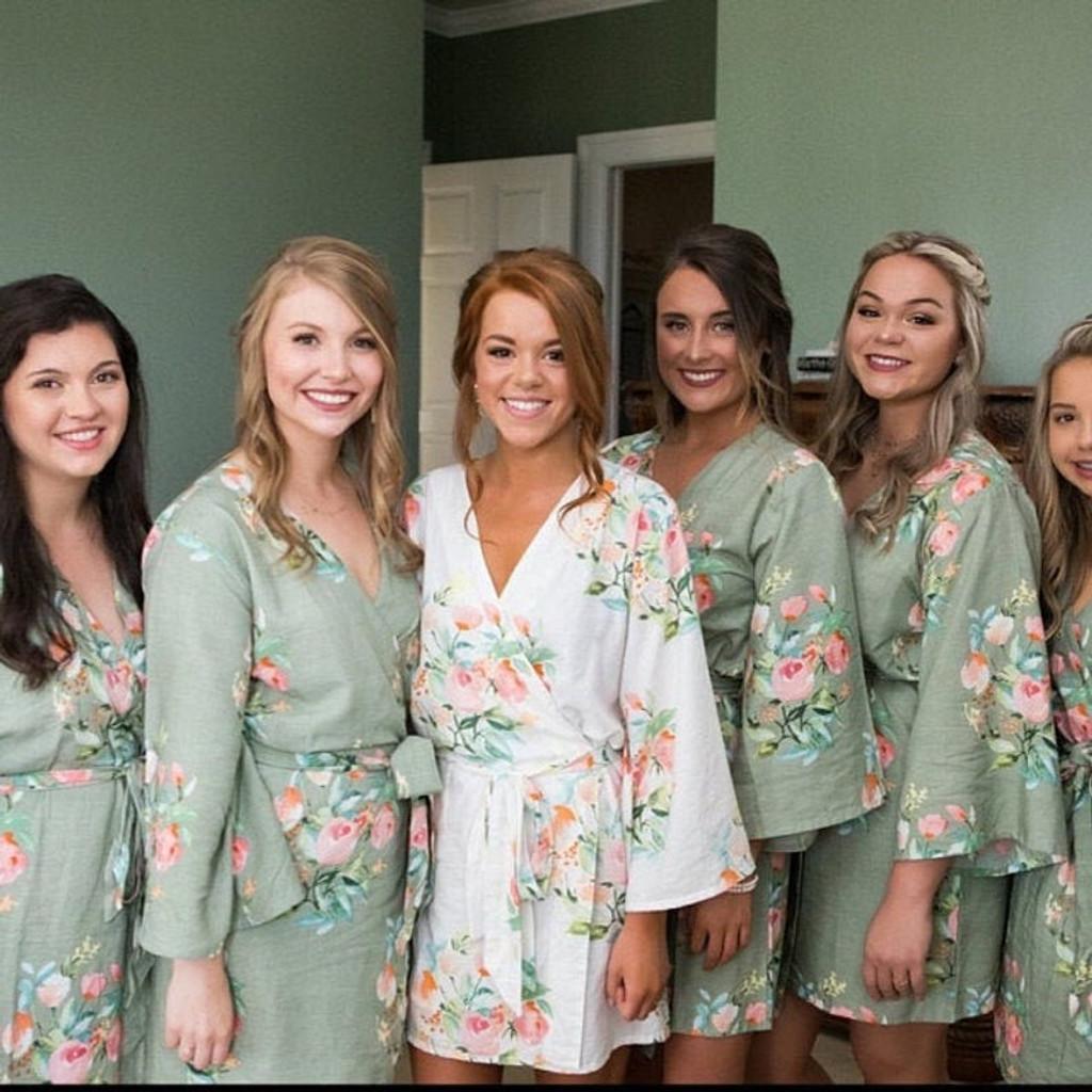 Grayed Jade in Dreamy Angel Song Bridesmaids Robes Set