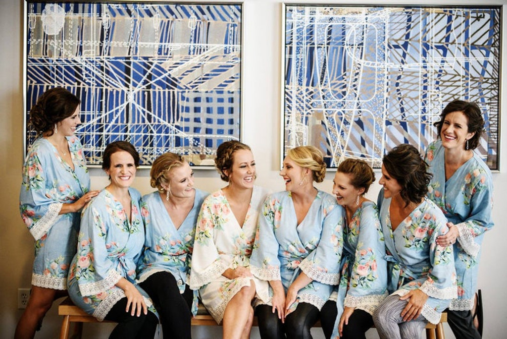 Dusty Blue Lace Trimmed Dreamy Angel Song Bridesmaids Robes Set