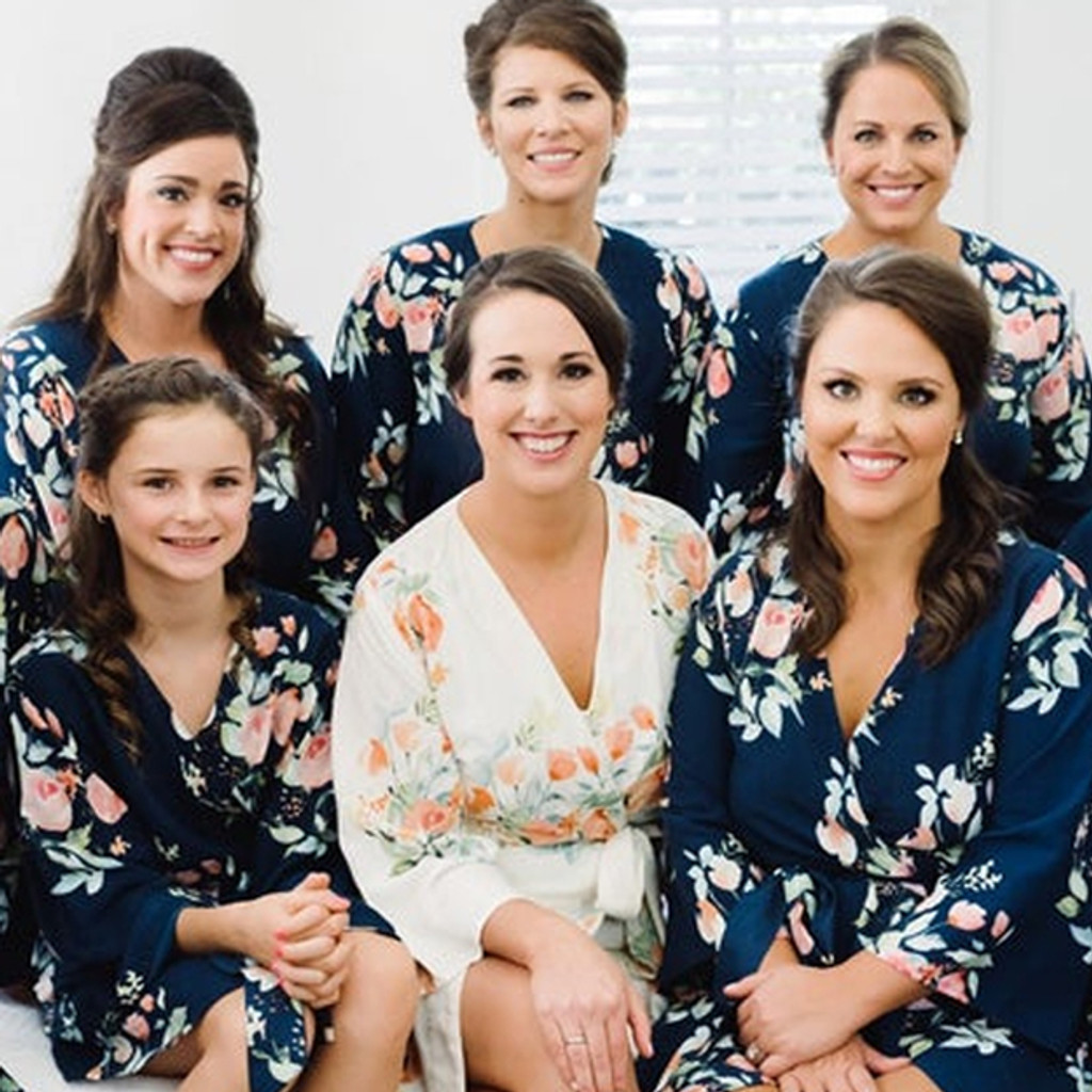 Navy Blue Dreamy Angel Song  Set of Bridesmaids Robes