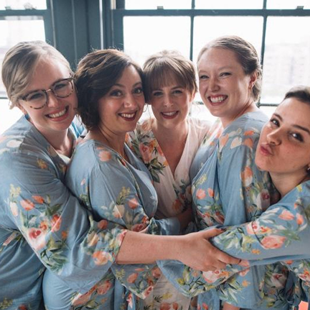 Dusty Blue  Dreamy Angel Song Bridesmaids Robes Sets