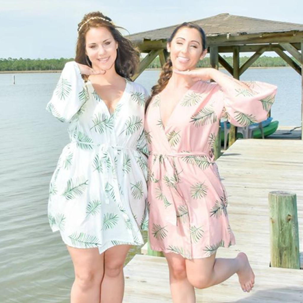 Rosegold Tropical Delight Palm Leaves Bridesmaids Robes Sets