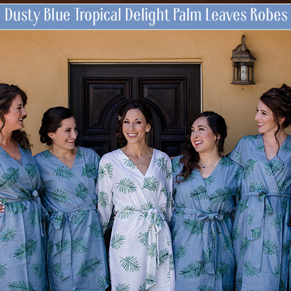 palm leaves print set of robes