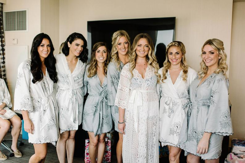 Gray Scalloped Trim Floral Sketch Bridesmaids Robes Sets