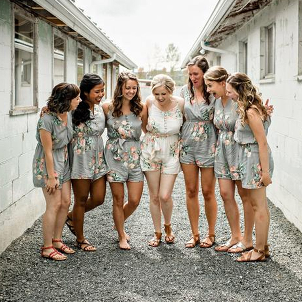 Gray Mismatched Styles Dreamy Angel Song Bridesmaids Rompers Set