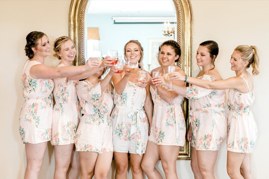 Blush Mismatched Style Dreamy Angel Song Bridesmaids Rompers Set
