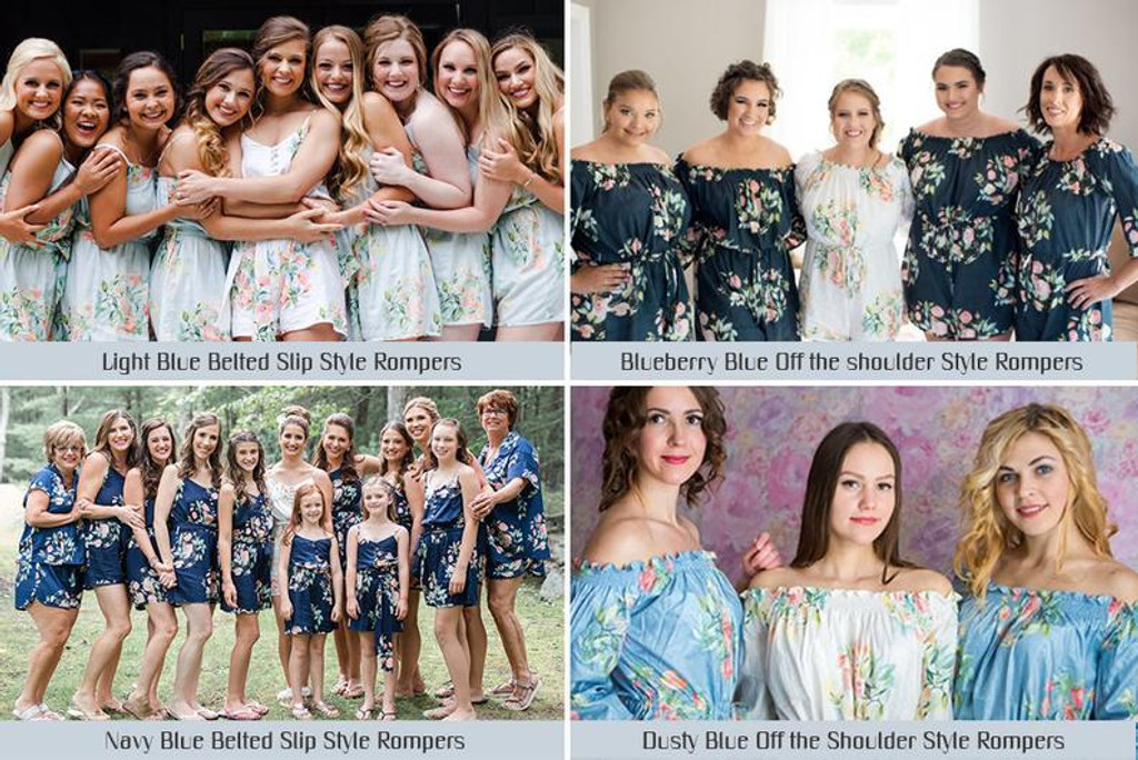 Navy Blue Mismatched Style Dreamy Angel Song Bridesmaids Rompers Set