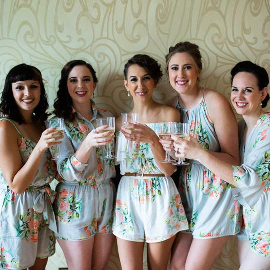 Silver Mismatched Style  Dreamy Angel Song Bridesmaids Rompers Set