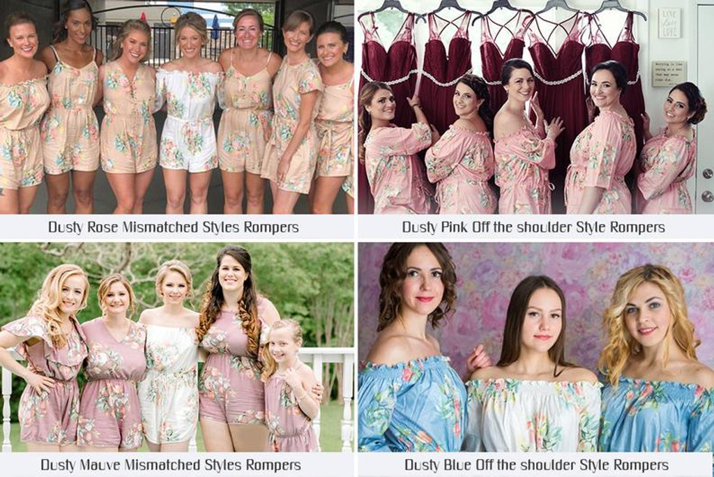 Gray Mismatched Style  Dreamy Angel Song Bridesmaids Rompers Set