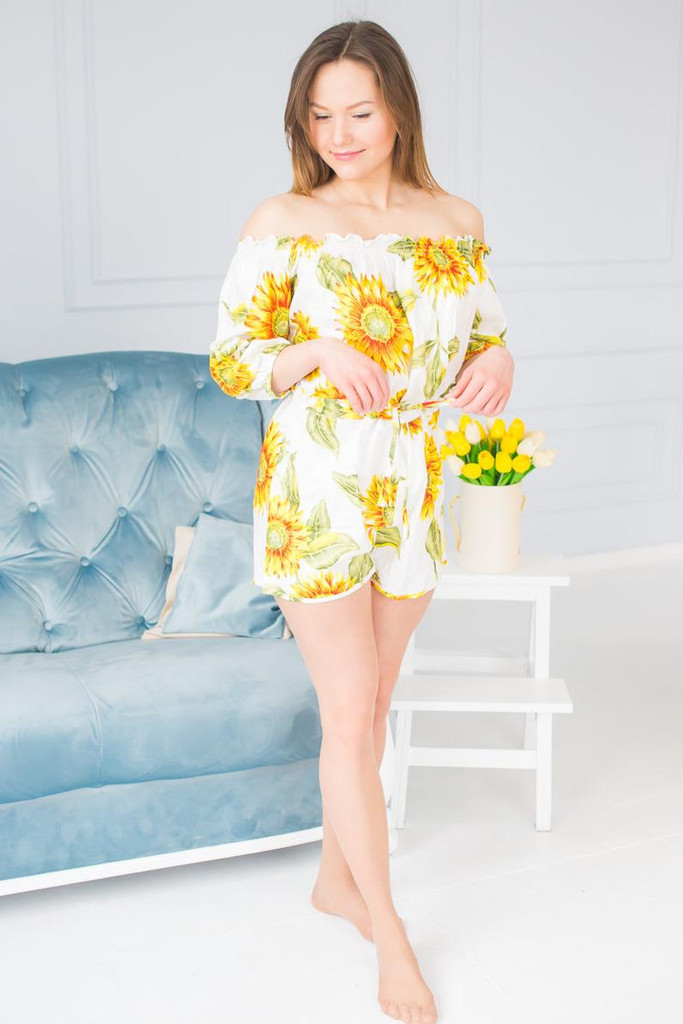 Off Shoulder Style  Sunflower Bridesmaids Rompers Set