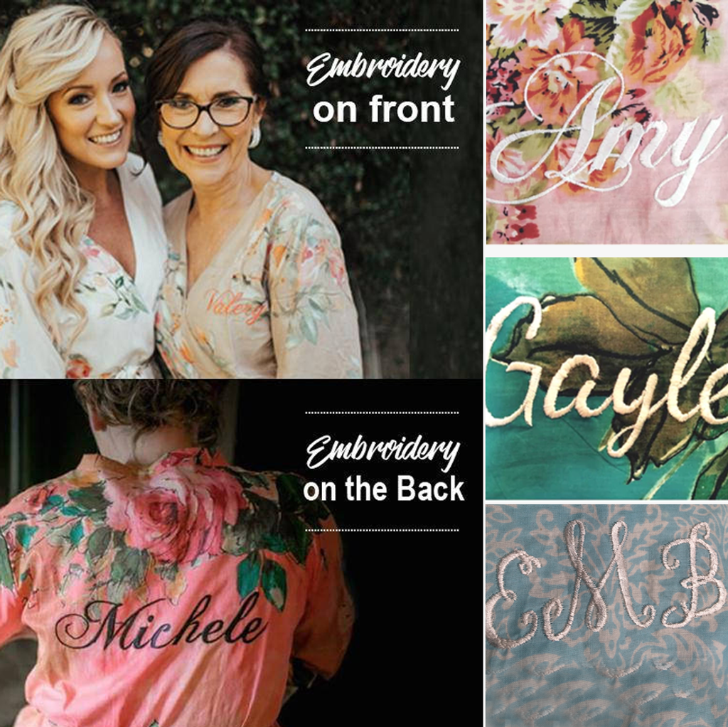 Monogram on bridesmaids robes