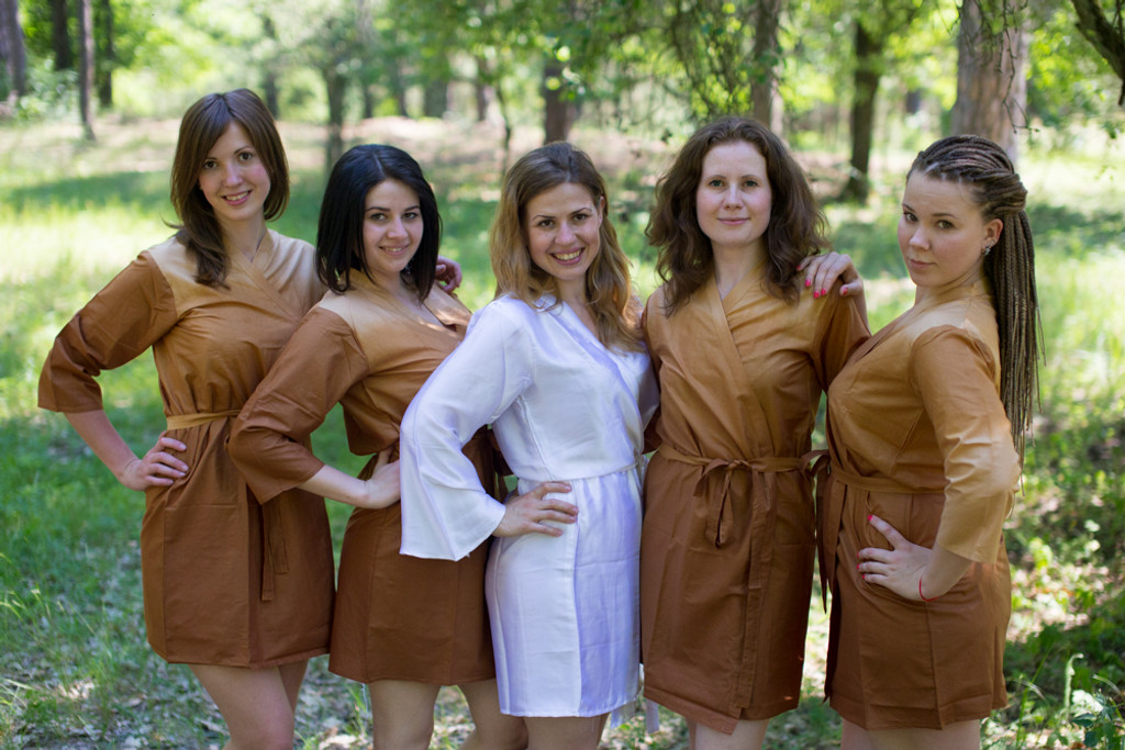 Khaki Ombre Tie Dye Robes for bridesmaids