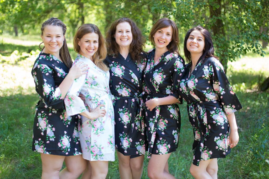 Black Pink Peonies Robes for bridesmaids