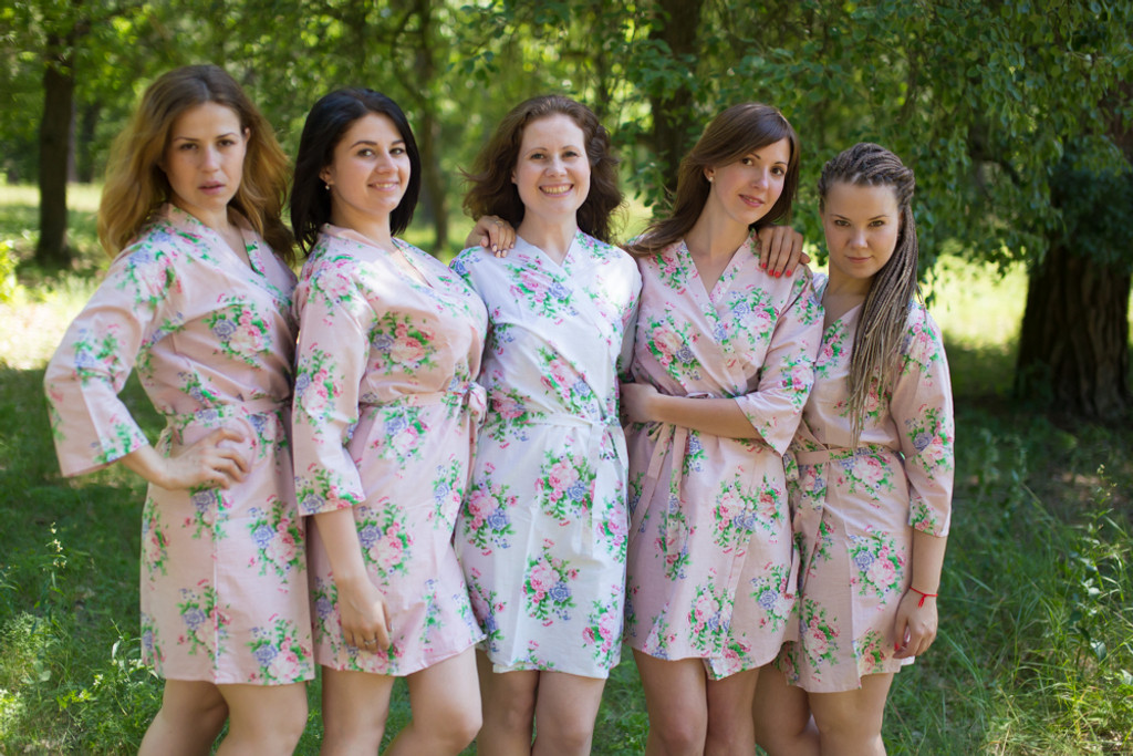 Vintage Pink Peonies Robes for bridesmaids
