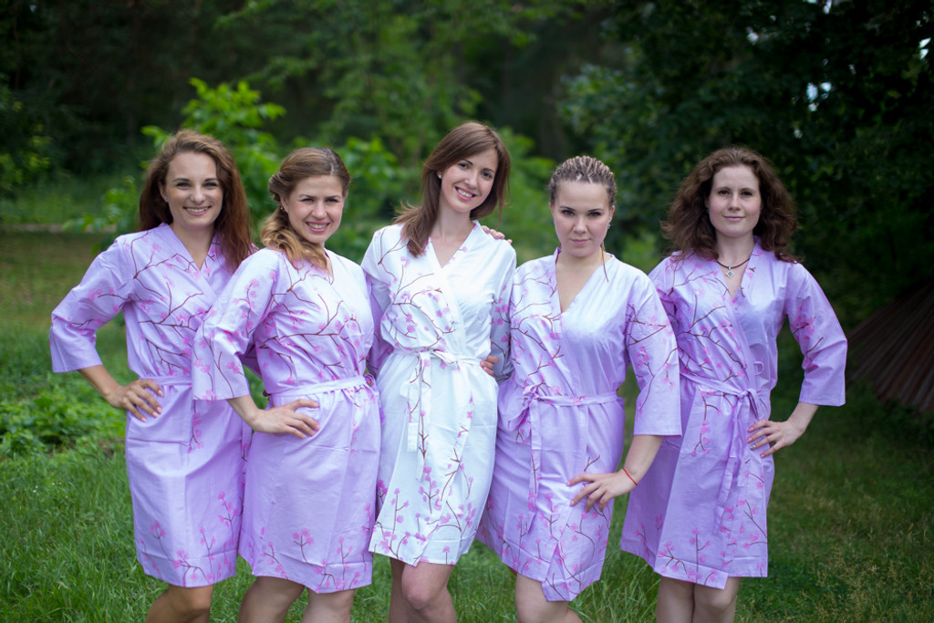 Lilac Cherry Blossom Robes for bridesmaids