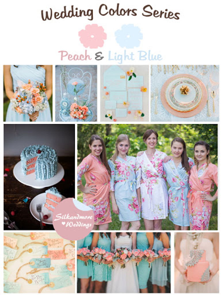 Peach and Blue Wedding Color Robes